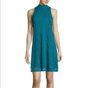 City Triangles Peacock Lace Open Back Tank Dress